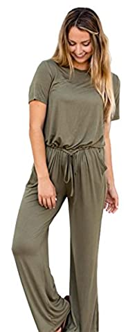 Longwu Women's Short Sleeve Drawstring Casual Long Pants Jumpsuit Romper Army Green-XL