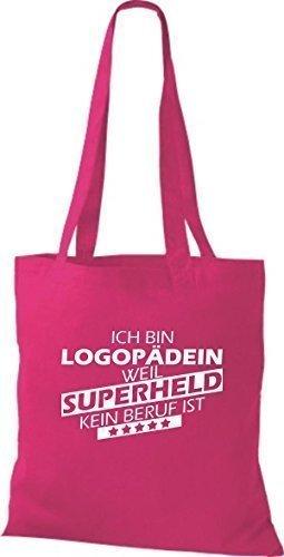 shirtstown Borsa di stoffa SONO logopädin, WEIL supereroe NESSUN lavoro è rosa 1