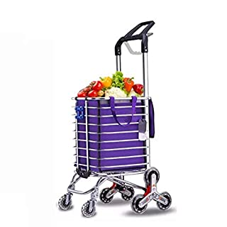 Foldable Shopping trolleys, Stair Climbing Grocery Laundry Trolley with Rotating Wheel Bearings and Removable Pocket