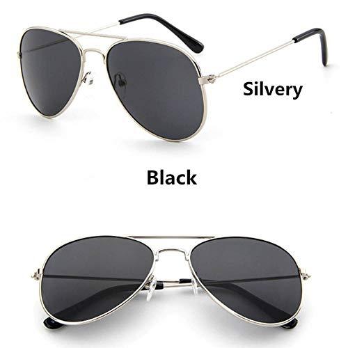 GAOHAITAO Fashion Kids Aviator Sunglasses Kids Boys Girls Design Silver Frame Blue Lens Pilot Sun Glasses for Children,Style 6