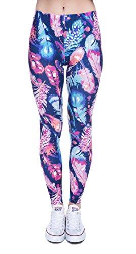 DD.UP Damen Strumpfhose Sport Print Yoga Leggings Workout Fitness Running Pants Mehrfarbig One Size (Print Leggings Capri)