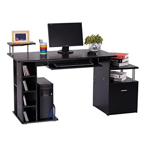 Homcom 920-013 Computertisch, Holz, schwarz, 152 x 60 x 88 cm