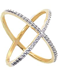 SKN™ Gold & Silver Gold Plated Solitaire Party American Diamond Cris Cross Ring For Women (Free Size;SKN-1422)