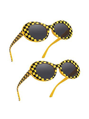 2 Paare Dicker Rahmen Kurt Cobain Brille Schlagkraft Oval Runde Mod Brille Retro Sonnenbrille mit 2 Linse Tuch 2 Brillen Tasche (Gelb Schwarz Plaid)