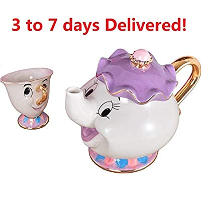 Nouveau Dessin animé Beauty and the Beast Théière Mug Mrs Potts Chip Tea Pot Cup un Lot Joli Cadeau (large)