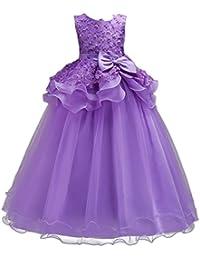 Vestido de niña de flores para la boda Princesa Vestidos de Dama De Honor Fiesta Tul