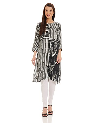 Global Desi Women's A-line Kurta (ss17gn023kury_black_x-small)