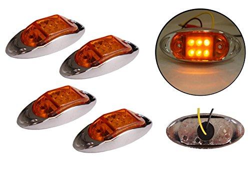 4x 12/24V 6LED Seite hinten vorne chrom Marker Bernstein orange Licht Lampe Trailer Pferdeanhänger Van -