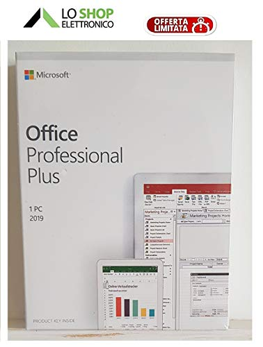 Office 2019 Professional Plus Box - Sigillato - Contiene Key-Card di Licenza - Attivazione Online - Italiano