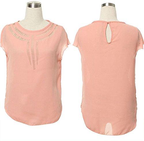 Smile YKK Sommer Damen Kurz Armel Shirt Oberteil Pink