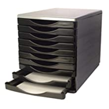 Q-Connect KF02254 10 Drawer Tower - Black/Grey