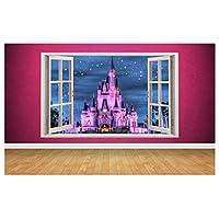 Beautiful Fairytail Castle Window Scene 3D Style Wall Art Sticker (Large: 94cm x 58cm)
