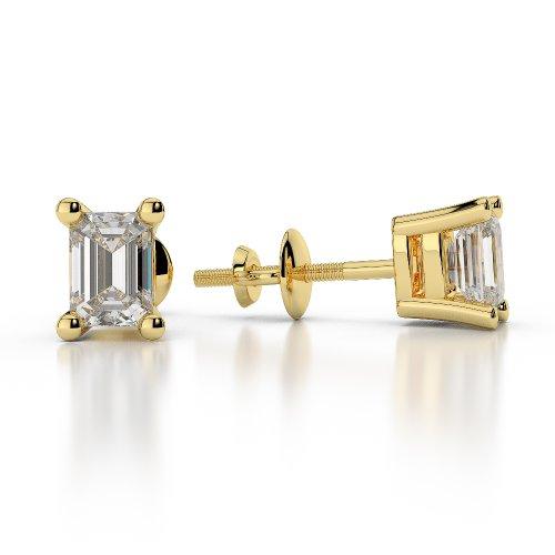Or jaune 18carats 0,30CT G-H/VS sertie de diamants Forme Émeraude Boucles d'oreilles à tige Ager-1003