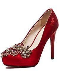 del de de Zapatos Beautiful Bordados Boda Chino la bridal Novia la Rojo shoes Zapatos pwUa8q