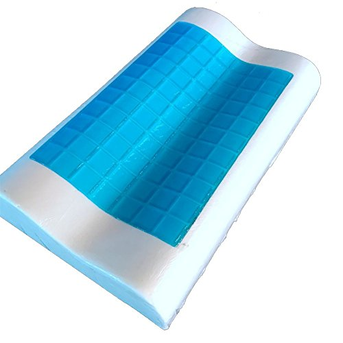 RXRENXIA Komfort-Therapie mit Memory-Schaum Komfortable Konturen, Cool Cooling Gel, Orthopädische Kissen mit Abnehmbaren Wasserdichte und Hypoallergen Cover - Arzt Für Hals, Rückenschmerzen