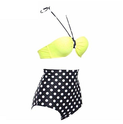 PU&PU Frauen Strand Bandeau Halter Bikinis Zwei Stücke Set Badeanzug Vintage Polka Dots Streifen Underwire Gepolsterte BH #3