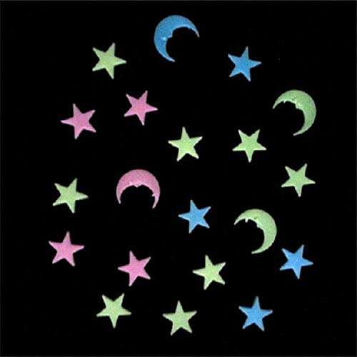 Bluelover 20Pcs Moon Stars Noctilucence Wall Decal Colorful Fluorescent Home Kid Room Decor Gift