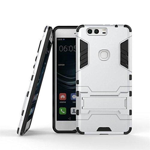 HUAWEI P9 Plus Abdeckung, 2 in 1 neue Rüstung Tough Style Hybrid Dual Layer Defender PC Hard Back Abdeckung mit Ständer Shockproof Case Für HUAWEI P9 Plus ( Color : Gray , Size : HUAWEI P9 Plus ) Silver