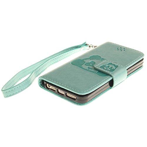Voguecase Pour Apple iPhone 5 5G 5S SE Coque, Étui en cuir synthétique chic avec fonction support pratique pour Apple iPhone 5 5G 5S SE (Panda-Pink)de Gratuit stylet l'écran aléatoire universelle Panda-Vert