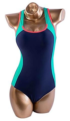 Aivtalk Damen Sport Badeanzug Spleißen Einteiler Bademode Slim Schwimmanzug Badebekleidung Swimsuit mit Schwimmerrücken - Dunkelblau und Grün