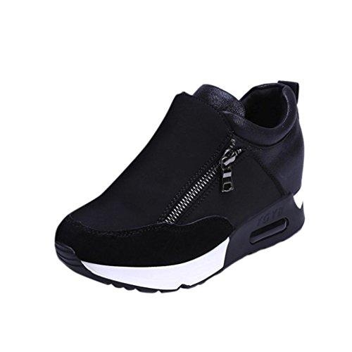 Sneaker Damen, Sonnena Frauen Bequem Künstlich Leder Laufschuhe Turnschuhe Sportschuhe Damen Mode Dicker Boden Plateau Schuhe Shoes mit Reißverschluss Freizeit Freizeitschuhe 35-42