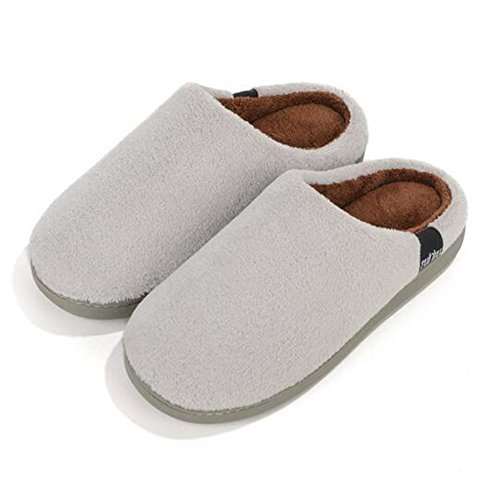Herren Damen Winter Slipper Coral Fleece Indoor Schuhe Grau