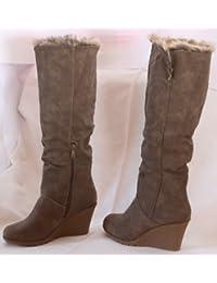 Mujer Botas Piel Botas de invierno guantes Boots Botas para mujer marrón caqui Beige, 36 EU