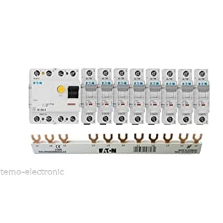 TM: Eaton Set 1x FI 236776 40A 0,03 + 8x Eaton LS-Schalter 1-polig 236033 + 1x 215660 FI Sammelschiene