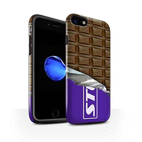 STUFF4 Glanz Harten Stoßfest Hülle / Case für Apple iPhone 7 / Galaxie-Welle Muster / Schokolade Kollektion Dairy Milk Blocks