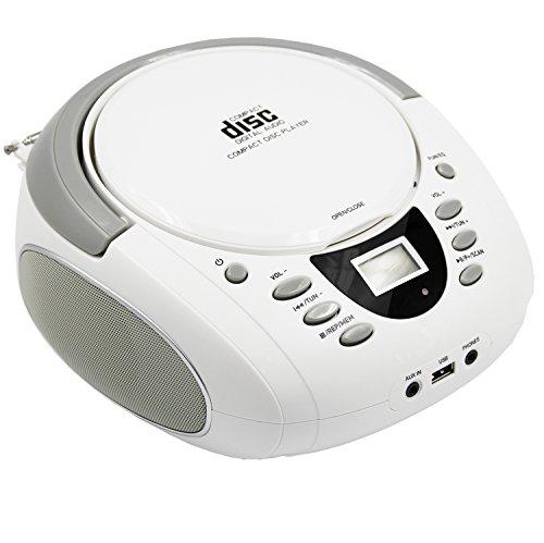 / Radio Am Cd-player Fm Mit (Tragbarer CD-Player mit Bluetooth Port USB | LONPOO CD-Boombox mit AM/FM-Radio, AUX IN, Kopfhöreranschluss und LCD-Leuchten (Weiß))