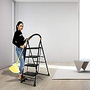 Happer Premium Foldable Step Ladder, Clamber, 4 Steps (Black & Ora