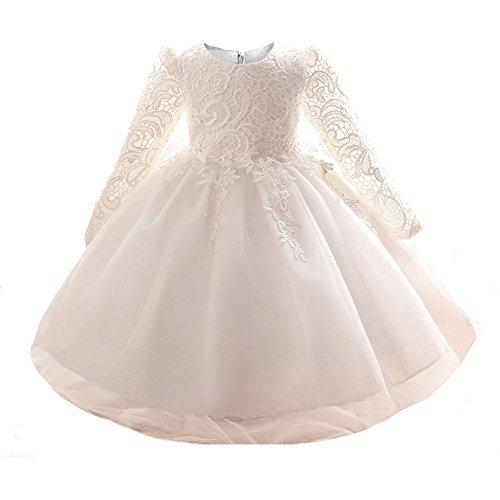Myosotis510 Mädchen-Spitze-Prinzessin-Hochzeits-Taufkleid-lange Hülse formale Partei-Abnutzung für Kleinkind-Baby-Mädchen (0-6 Monate, Weiß)