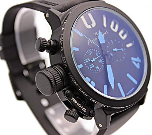 KLMADSB Armbanduhr Herren Uhren Herren Sport schwarz Gummi Classic U Runde automatische mechanische linken Haken Hand Uhr große 50 mm Boot Herrenuhren schwarz blau