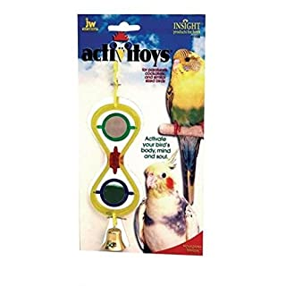 This toy is designed for small sized birds such as Parakeets and Cockatiels. Great toy for stimulating the birds mind as well as its motor skills,also keep the bird vigorous and healthy. Made of touch plastic with a unique securing nut, making it easier to secure the toy to the cage.