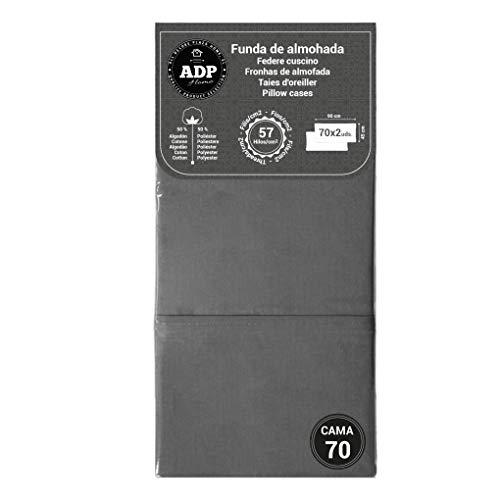 ADP Home - Funda de almohada lisa 144 hilos (pack de 2 ud. De 70 cm), gris