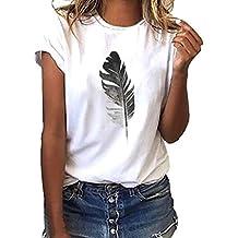 290e87d18f35fd Dhyuen Frauen Hemd Plus Size Mode Feder Gedruckt Kurzarm Rundhals T-Shirt  Lässige Bluse Tops