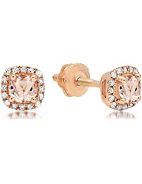 10 ct Rose Gold Round Cut Morganite & White Diamond Ladies Halo Style Stud Earrings