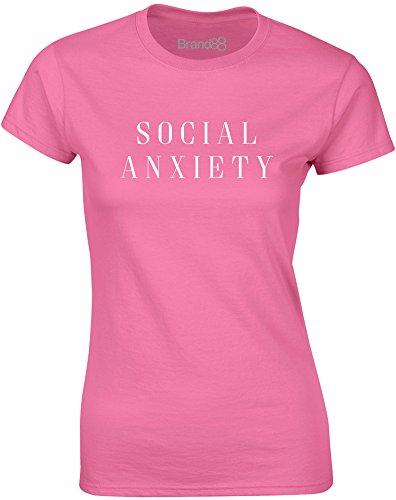 Brand88 - Social Anxiety, Mesdames T-shirt imprimé Azalée/Blanc