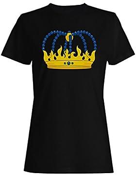 Novedad divertida del arte de la reina del rey de la corona camiseta de las mujeres a596f