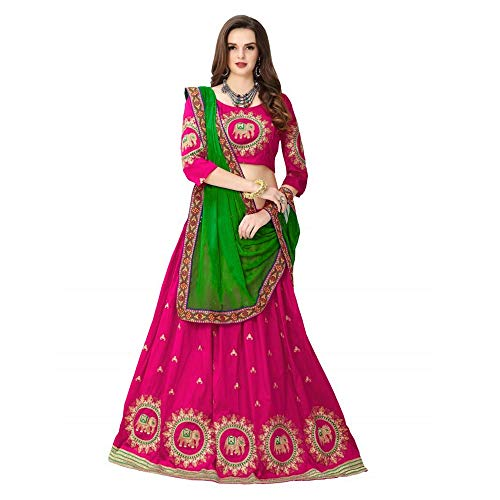 SABHAYA IMPEX Women's Net Semi-stitched Lehenga Choli, Free Size (Pink)