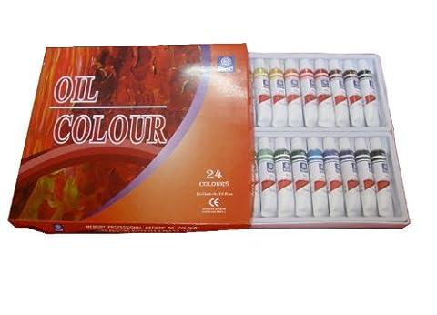 Memory Coffret peinture à l'huile pour artistes professionnels 24 couleurs en tubes aluminium de 12ml