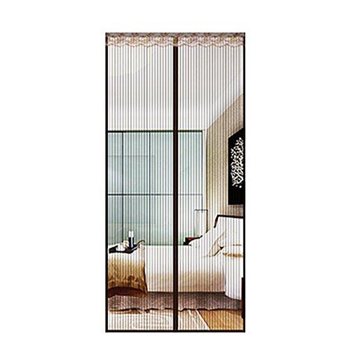 Q&f zanzariera magnetica porta finestra,tende per porte francesi di maglia,ante scorrevoli,garage,pesca barca-super tranquillo,aria fresca di mani gratis-let in-marrone 70x230cm(28x91inch)