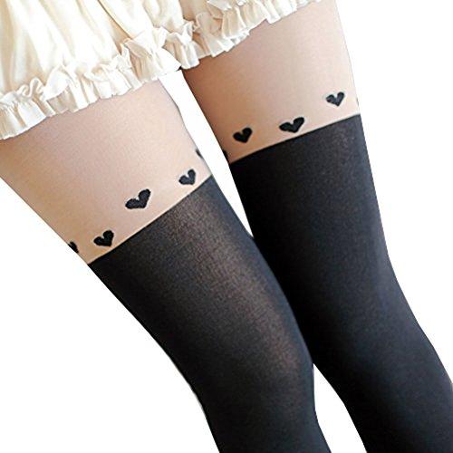 Molly Donne Calze Sopra Il Ginocchio Collant Tatuaggio Banda Leggingsfreesize Amore3