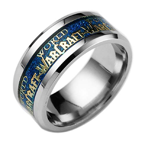 HDCooL World of Warcraft Ring Titanium Game Movie Letters Steel Color Edge Comfort Fit Birthday Gift for Men Son Various Color - Comfort Letter