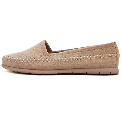Smilun Lady mocassini mocassino camoscio scarpe barca piatto ultra-soft Khaki