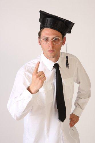 Foxxeo 10850 | Bachelorhut Bachelor Hut Doktor Absolvent Hochschulabsolvent Doktorhut Absolventenhut College Collegeabschluß Abschluß Graduation Kappe mit Bommel Karneval Fasching