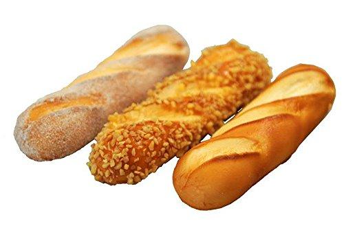 Handgemachte & Realistische Lebensmittel Attrappe - Gebäck: 3 Kleine Französische Baguettes - Länge: 15cm/Breite: 4cm/Höhe: 2cm