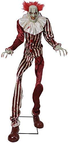 (Fancy Me 2.1m (7ft) Lichter Sound Bewegung Undead Clown Walking Talking Zeichentrickfilm TV Buch Film Horror Gruselig Halloween Party Dekoration Requisite)