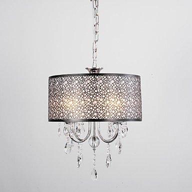 WSS Crystal Max 60W moderno/contemporaneo/barilotto cromato Lampadario in metallo soggiorno/sala da pranzo . (120 Volt 4 Catena Luce)