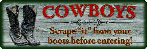 River 's Edge wetterfest geprägt Blechschilder, Cowboys Scrape Boots -